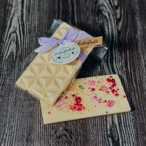 Weiß – mit Beeren und Blüten, Schokoladentafel